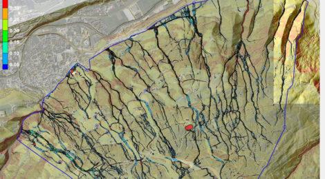 Schladming Fastenberg: 2D-Modellierung Oberflächenabfluss